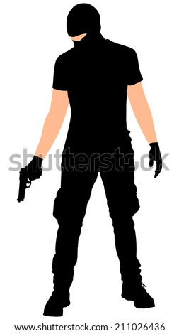robber with mask, vector  - stock vector