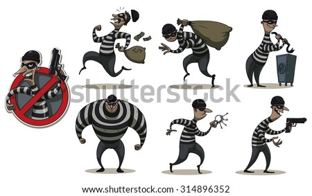 Robbers in Mask  color set, vector - stock vector