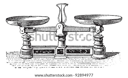 Roberval balance, vintage engraved illustration. Dictionary of words and things - Larive and Fleury - 1895. - stock vector