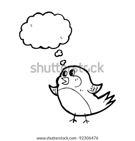robin with thought bubble cartoon
