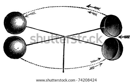 Robinson's anemometer or wind gauge vintage engraving. Old engraved illustration of the anemometer invented by John Thomas Romney Robinson in 1846. Vector illustration, isolated on white - stock vector