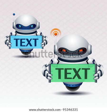 Robot and banner - stock vector