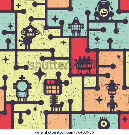 Robot and monsters colorful seamless pattern. Vector illustration.
