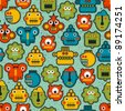 Robot and monsters cute faces seamless pattern. Vector texture. - stock vector