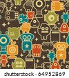 Robot and monsters modern seamless pattern in retro style #1. Vector texture with nanobots. - stock photo