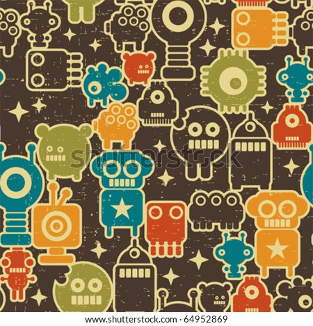 Robot and monsters modern seamless pattern in retro style #1. Vector texture with nanobots. - stock vector