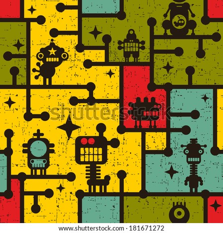 Robot and monsters on the tree colorful seamless pattern. Vector background. - stock vector