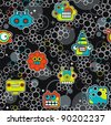 Robot and monsters with bubbles seamless pattern. Vector texture. - stock vector