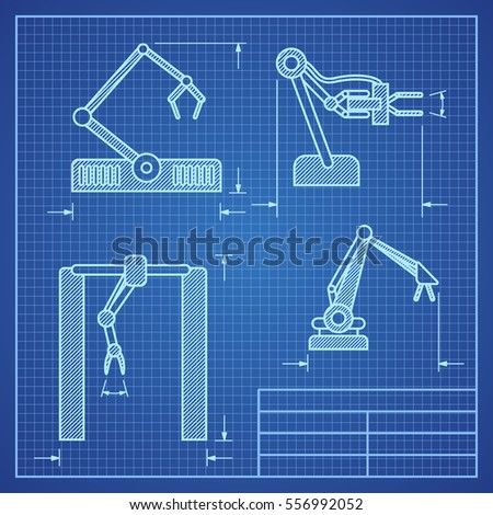 Robot arms blueprint machine industrial robotic vector de robot arms blueprint machine industrial robotic vector project blueprint robotic arm illustration malvernweather Image collections