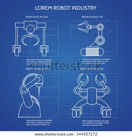 Robot arms blueprint vector illustration industrial stock vector robot arms blueprint vector illustration industrial robotic armed machines malvernweather Image collections