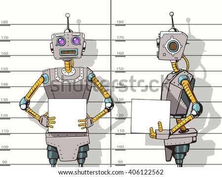 Robot arrested photo in police pop art style vector illustration. Robot illustration. Comic book style imitation. Vintage retro style robot. Conceptual illustration - stock vector