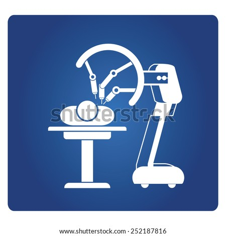 robot-assisted surgery, medical robot - stock vector