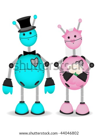 Robot Bride and Groom stand together vector cartoon
