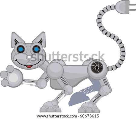 robot cat r3 happy - stock vector