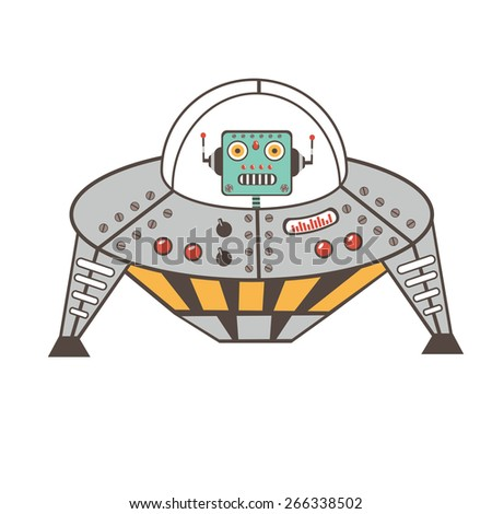 Robot character in spaceship in vector format - stock vector