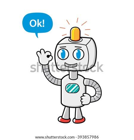 Robot character showing ok sign gesture. - stock vector