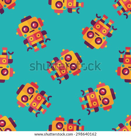 robot concept flat icon,eps10 seamless pattern background - stock vector