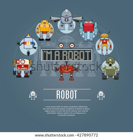 Robot Concept Icons Set. Vector illustration