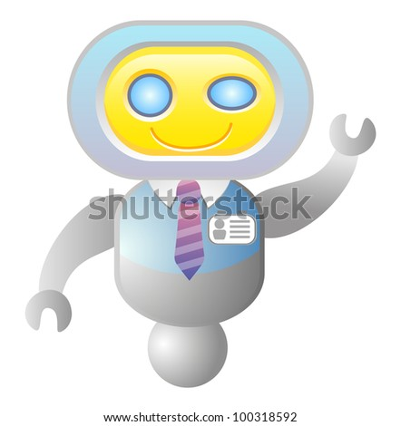 robot consultant; support; icon; isolated; vector illustration - stock vector