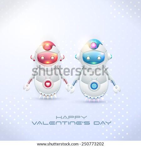 Robot Couple, Happy Valentine's Day Theme - stock vector