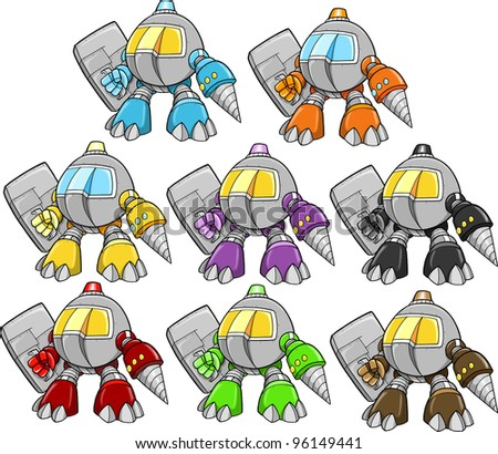 Robot Cyborg Warrior Vector Illustration Set