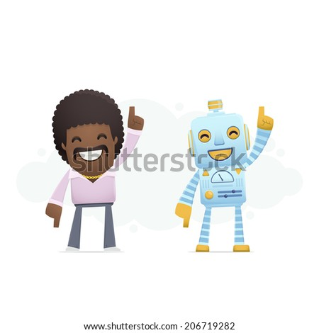 robot dancing disco with a man. conceptual illustration - stock vector