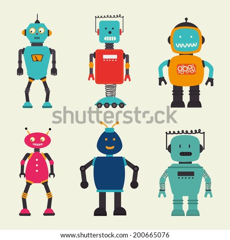 Robot design over beige background, vector illustration