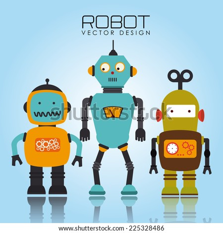Robot design over blue background, vector illustration