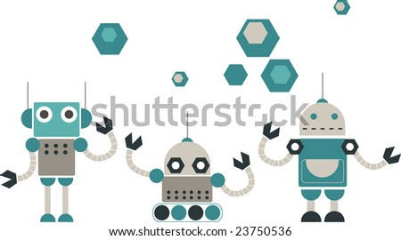 robot design set - stock vector