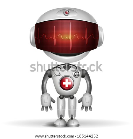 Robot Doctor with stethoscope. Screen indicator show cardiogram. Vector illustration - stock vector