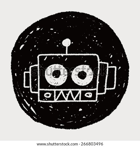 robot doodle drawing - stock vector
