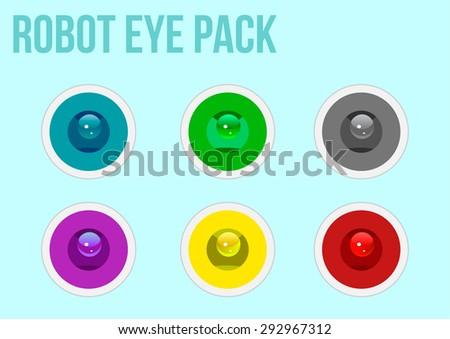Robot Eye Pack - stock vector