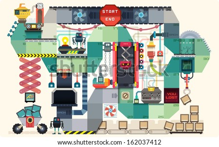Robot factory board game for kids; infographics charts; symbols; graphic elements; illustrator vector; illustrator vector - stock vector