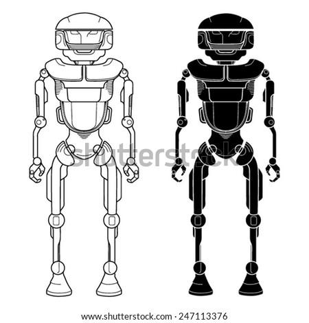 Robot, fantasy robot B&W - stock vector
