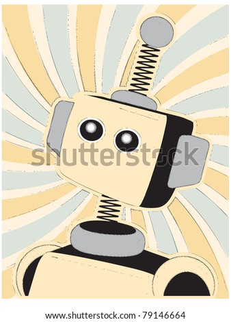 Robot Halftone Comic Style - stock vector