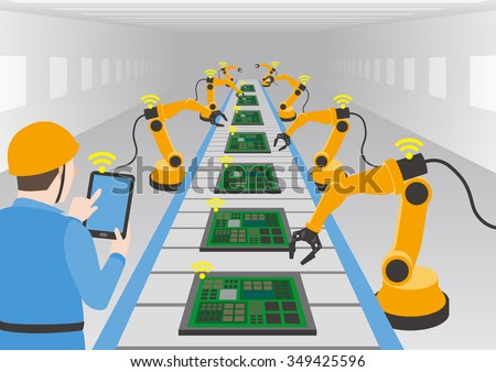 robot hands and conveyor belt, controlled by engineer with Tablet PC, Factory automation, Industry 4.0, Internet of Things, vector illustration - stock vector