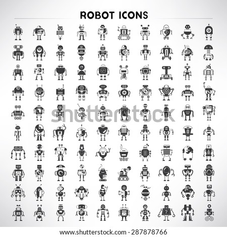 robot icons set, big set vector of cute robots - stock vector
