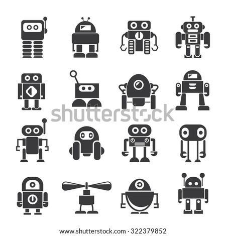 robot icons set, vector robot - stock vector