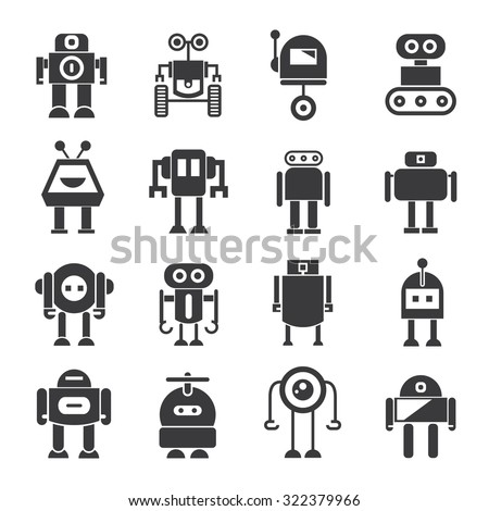 robot icons set, vector robot - stock vector