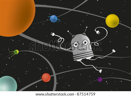 Robot in Space - stock vector