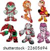 Robot kids character set - stock vector