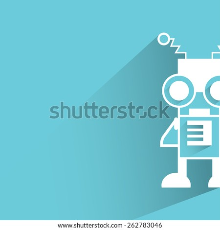 robot, monster on blue background, flat and shadow theme - stock vector