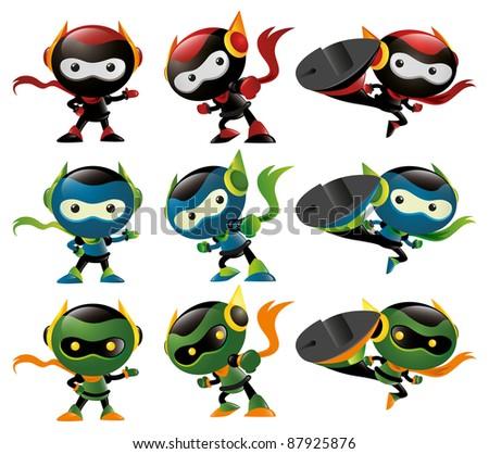 Robot Ninja Mascot Set 2 - stock vector