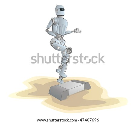 robot on a beach make step-aerobic activity	,vector image isolated on white