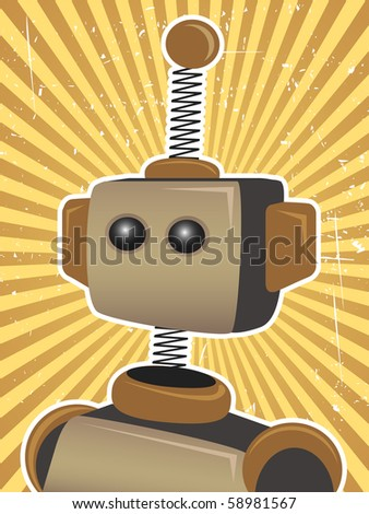 Robot Protrait surrounded by bright orange sunny rays beams - stock vector