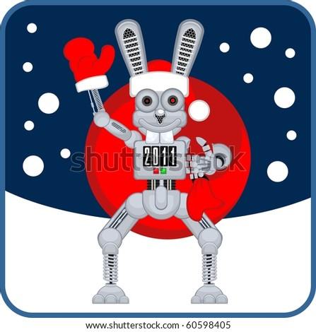 robot rabbit r2 new year - stock vector