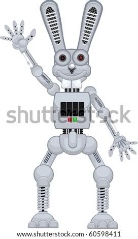 robot rabbit r2 stand - stock vector