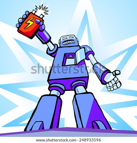 Robot's uprising. Revolutionary robot holds battery as his heart - stock vector