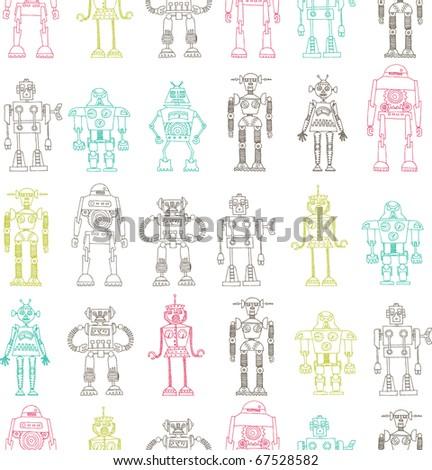 robot seamless pattern - stock vector