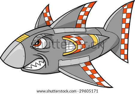 Robot Shark Vector Illustration - stock vector
